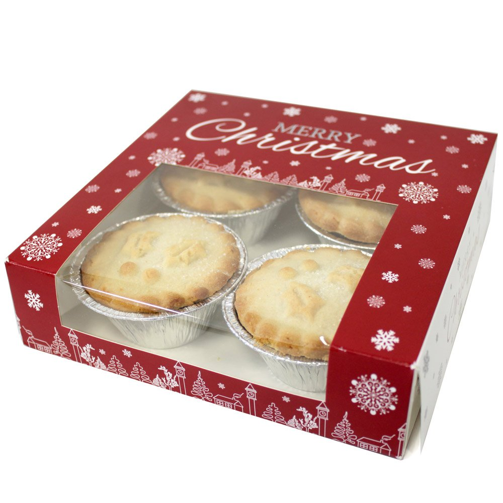 Premium Merry Christmas Snowflake Square Mince Pie Boxes 7x7x2 (Pack of 25)