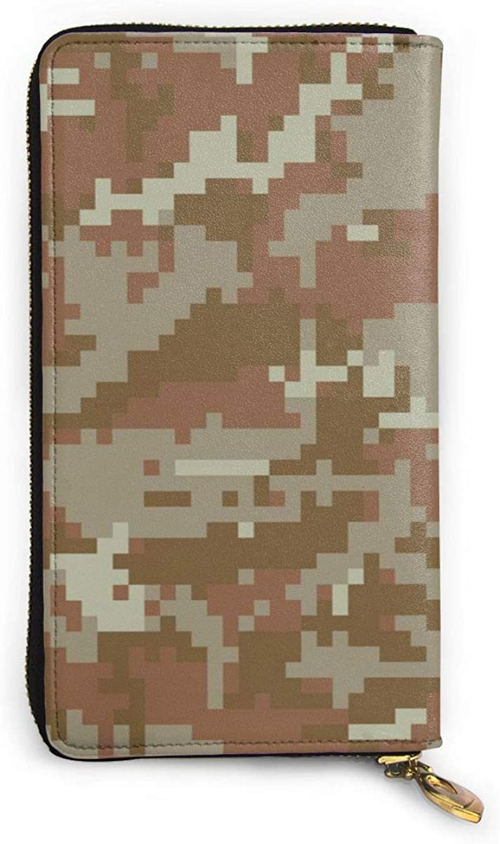 Military Camouflage Womens Genuine Leather Wallet Zip Around Wallet Clutch Wallet Coin Purse