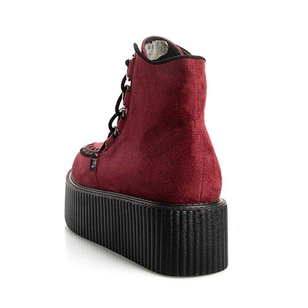 RoseG Women's High Top Suede Lace up Flat B00K5529I6 Platform Creepers Shoes Boots B00K5529I6 Flat 8.5 B(M) US|Red 95efe4