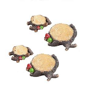 Tophappy Miniature Fairy Garden Ornaments for DIY Fairy Garden Decoration Outdoor Decoration (4 Pcs Mushroom Tree Stump)