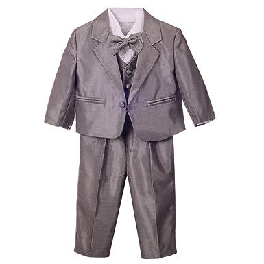 f4cc51a9714 Amazon.com  Dressy Daisy Baby Boys  Formal Dress Suit Tuxedo no Tail 5pc  Set Wedding Outfits 038  Clothing