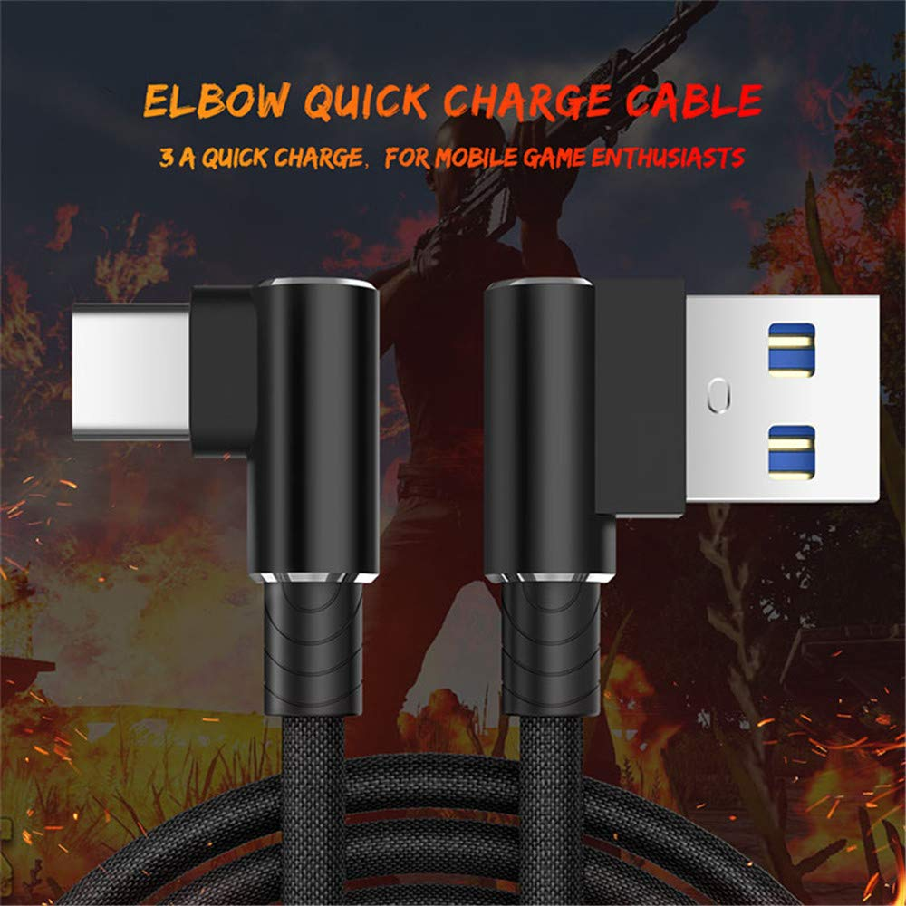 Color : Red, Size : 3m YOZOOE Type-C Micro USB Braided 90 Degrees L-Shaped Fast Speed Data Charging Cable