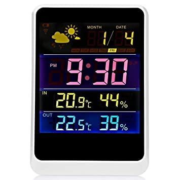 AFGD Termometro Digitaltermómetro Digital Inalámbrico LCD Controlador Interior/Exterior Reloj Despertador: Amazon.es: Hogar
