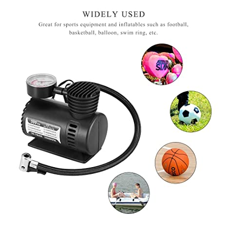 Pumps - Black Portable Versatile 12v 300psi Car Tire Tyre Inflator Pump Mini Compact Compressor Bike