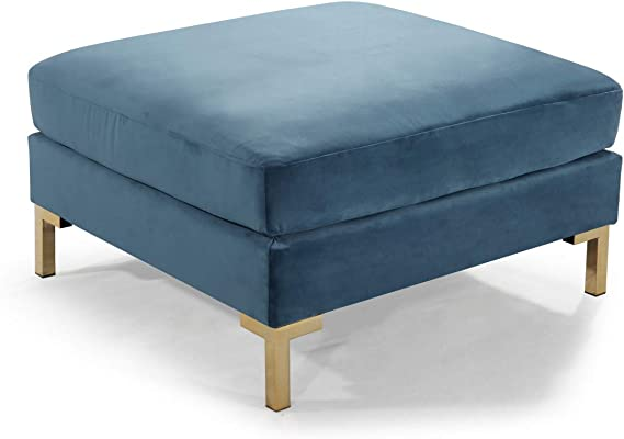 Iconic Home Girardi Modular Chaise Ottoman Coffee Table Cushion Velvet Upholstered Solid Gold Tone Metal Y Leg Modern Contemporary Teal Furniture Decor Amazon Com