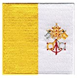 Vatican City Flag Embroidered Patch Iron-On Catholic Pope Francis Rome Holy Sea
