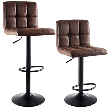 SUPERJARE Set of 2 Adjustable Bar Stools, Swivel Barstool Chairs with Back, Pub Kitchen Counter Height, Vintage Brown