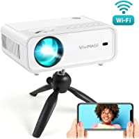 VIVIMAGE Explore 2 Mini WiFi Projector, 4500 Lux 1080P Supported Projector, 40,000 Hours Lamp Life with Synchronize Smartphone Screen, Compatible with TV Stick, HDMI, TV Box, PS4, Include Tripod