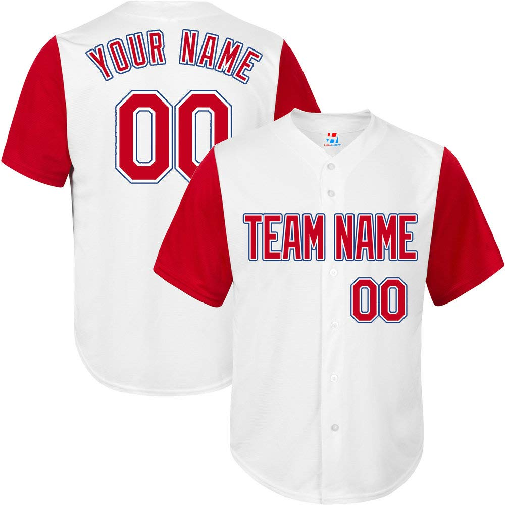 Pullonsy White/Red League Custom Baseball Jersey for Youth Stitched Letters,Red-Blue Size S by Pullonsy