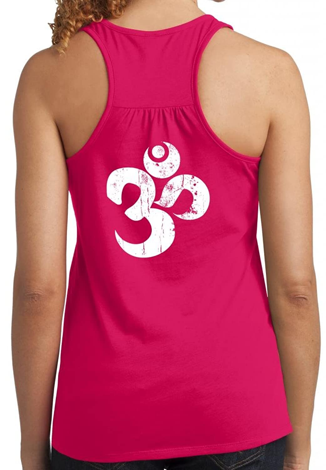 Yoga Clothing For You Ladies Distressed OM Racer Back Tank Top