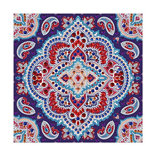 WISREMT Diamond Painting Kits for Adults, Special Shaped Partial Drills Luminous DIY Diamond Art Painting for Home Wall & Desk Decor - Mandala Flower, 11.8 x 11.8 inch