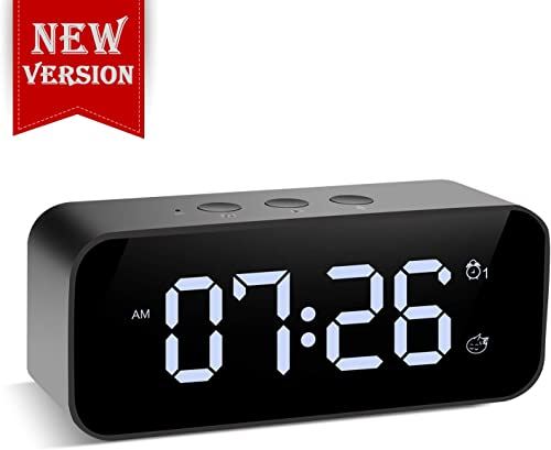Muerkai Modern Digital Alarm Clock, with USB Port for Charging, Voice Recording, 3 Brightness, 8 Alarm Sounds 3 Alarm Volume, Snooze Small Led Desk Clock for Kids, Bedroom, Home, Office Black