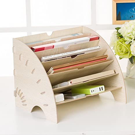 DIY Wooden Magazine File Holder Organizer Multi Trays Papers Documents Sorter Shelf Letter Tray Dividers Display