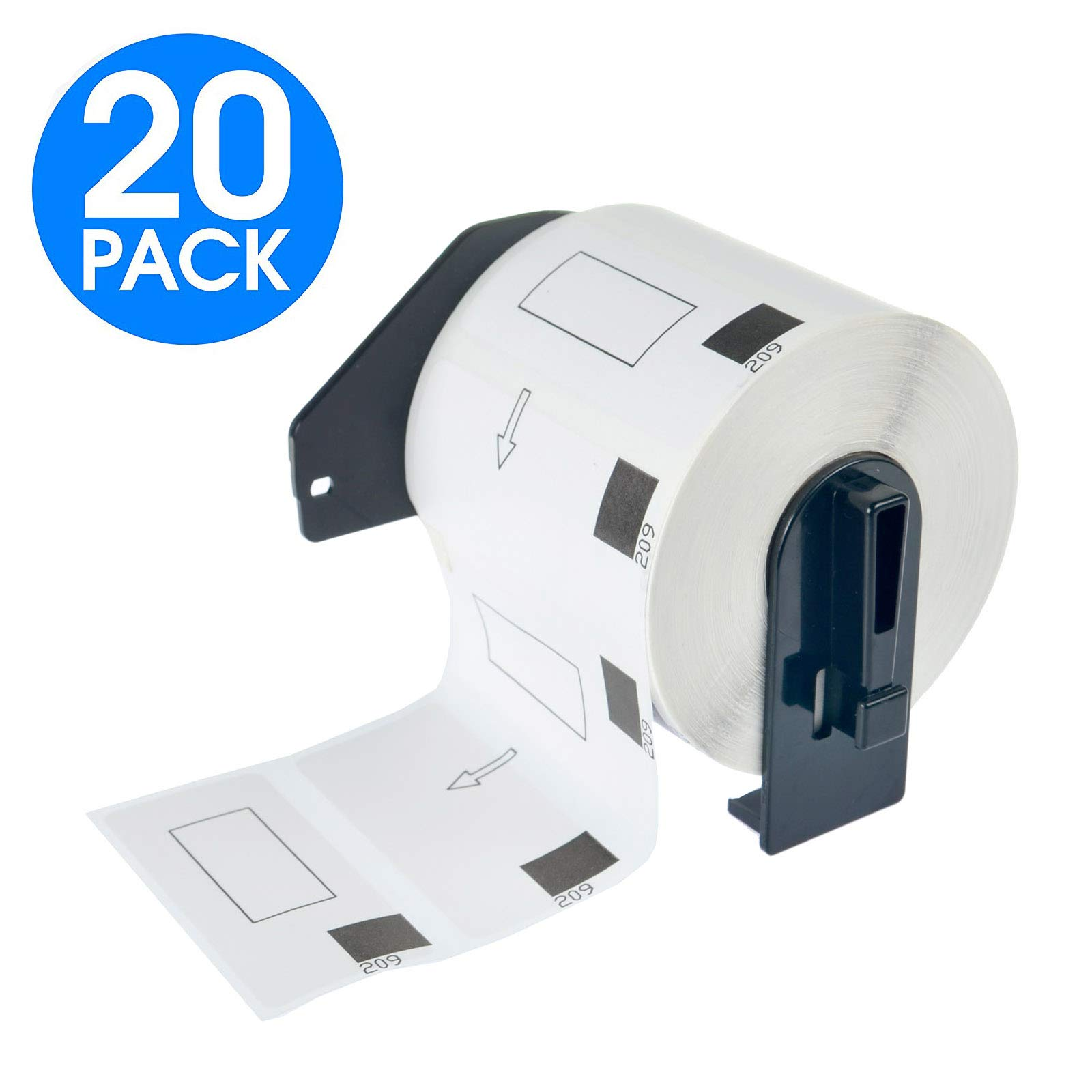 KCYMTONER 20 Rolls DK-1209 Continuous Length Paper Labels,1-1/7'' x 2-3/7'' (29mm x 62mm),Compatible with Brother P-Touch QL-Series Printers QL-560 QL-570 QL-580N QL-1060N,Includes (20) Snap-On-Frame