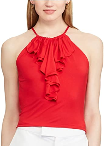 Chaps Women's Ruffle Halter Top (Yacht Red, X-Large) at Amazon Women's  Clothing store