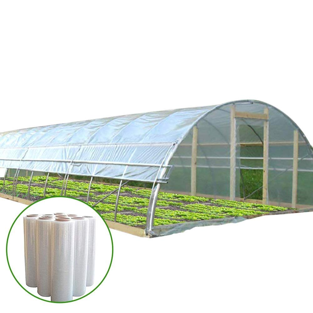 Agfabric 5.5Mil Plastic Covering Clear Polyethylene Greenhouse Film UV Resistant for Grow Tunnel and Garden Hoop, Plant Cover&Frost Blanket for Season Extension, W14'xL25'