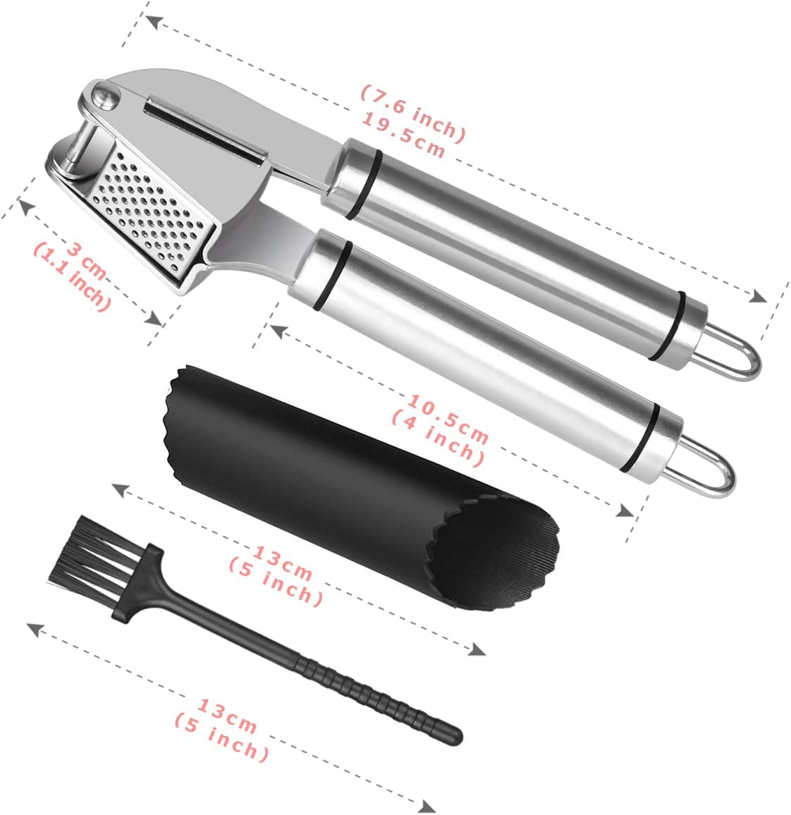 ECHOICE Garlic Crusher Press Stainless Steel Ginger Professional Safe for Dishwasher Easy to Clean Set Garlic Press Set Kitchen Garlic Mincer and Silicone Tube Roller
