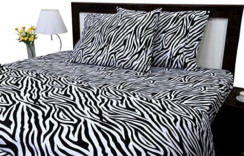 ARlinen #1 Bed Sheet Set 100% Egyptian Cotton 4-Piece Bed Sheet Set Sateen 600-Thread-Count Fit Mattress up to 15 Inch Deep Pocket Premium Quality (Twin Size) Zebra Print (Zebra Premium)