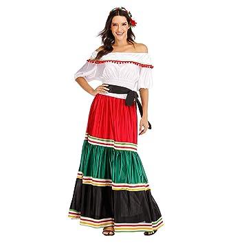 EraSpooky Disfraz de Señorita Mexicana para Mujer Traje de Fiesta ...