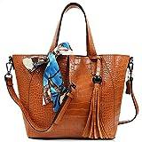 Handbag for Women DILER Women Top Handle Satchel Handbags Shoulder Bag Messenger Tote Bag Purse Deep Yellow Brown