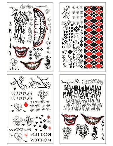 COKOHAPPY SS Temporary Tattoo - Harley Quinn & The Joker Full set of 4 Sheets - 80+ Tats Costume / Cosplay (Halloween Costume Harley Quinn)