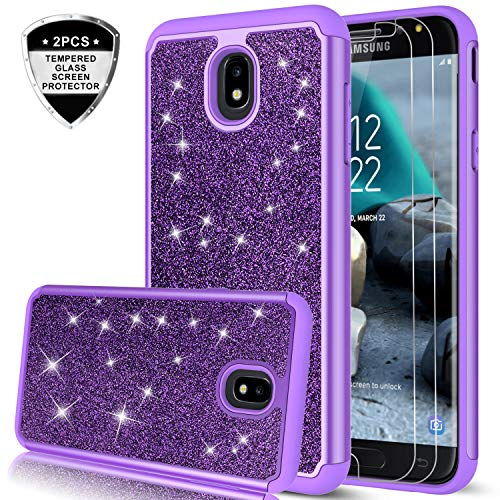 Galaxy J7 Refine/J7 2018/J7 Star/J7 Top/J7 Aura/J7 Aero/Crown/Eon Case w/Tempered Glass Screen Protector for Girls Women,LeYi Glitter Protective Phone Case for Samsung J7 V 2nd Gen TP Purple