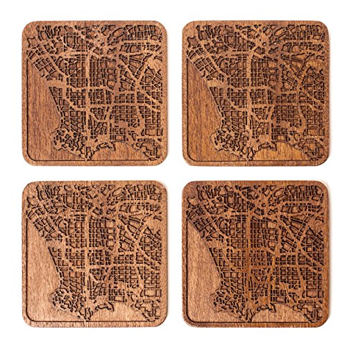 O3 Design Studio Los Angeles Map Coasters, Set Of 4, Sapele Wooden Coaster With City Map, Handmade,