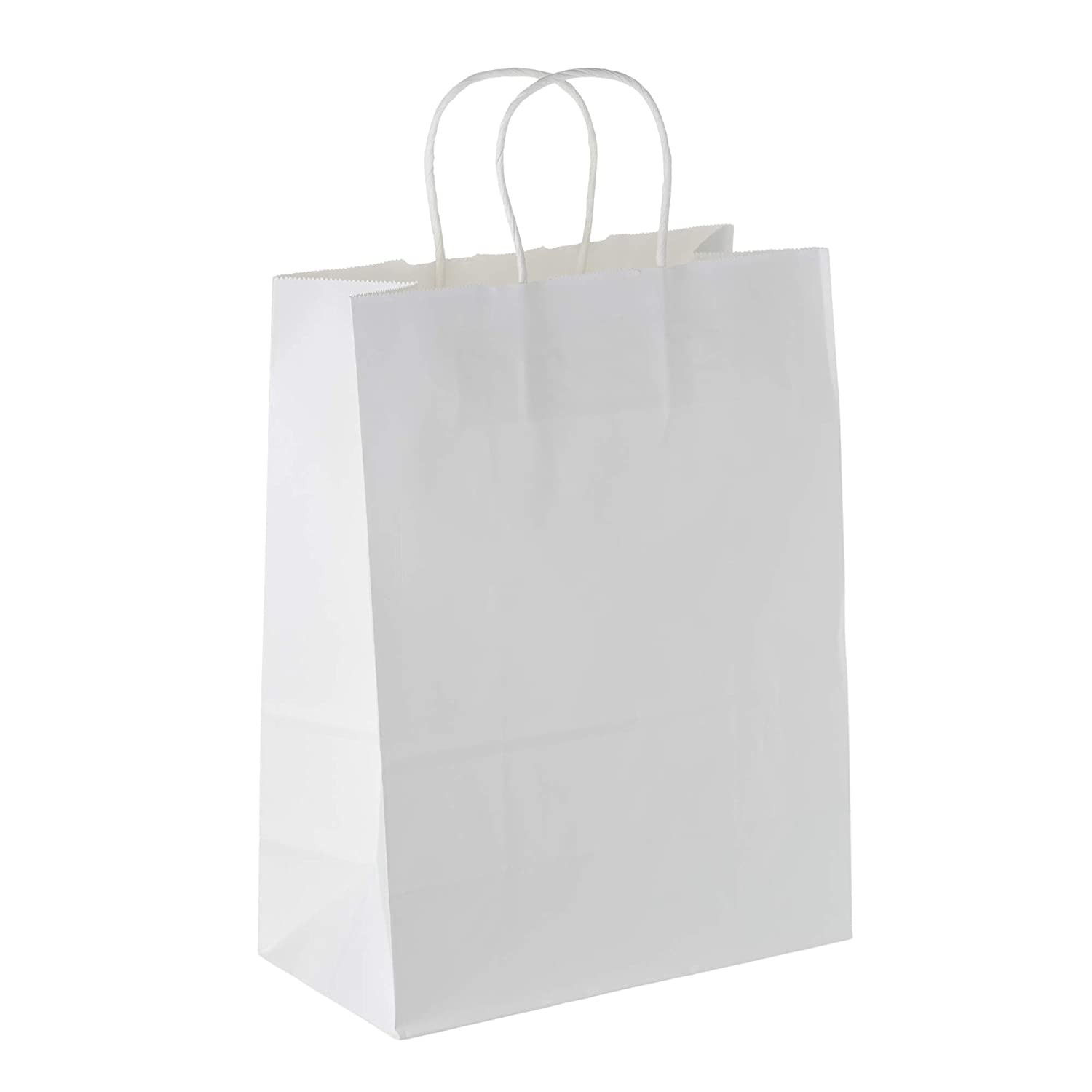 """White Paper Boutique Bags with Handles for Wedding, Party Favor, Thank You, and More, Kraft-Colored Economy Gift Bags Measuring 8.25"""" L x 4.75"""" W x 10.5"""" H (25 Count) - Creative Bag Creative Bag Company 2AE0896"""