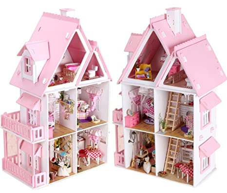 17 Wooden Dream Dollhouse 6 Rooms With Furnitures Lights DIY Kits Miniature  Doll House Great For