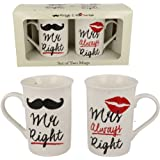 Mr & Mrs Always DROIT tasse café thé coffret cadeau anniversaire de mariage présent Neuf