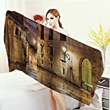Quick-Dry Towels Gothic Decor Gothic Ancient Stone Quarter of Barcelona Spain Renaissance Heritage Gothic Night Street Photo Wrap Towels 55''x27.5'' Cream