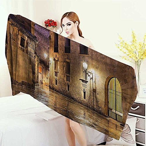 Quick-Dry Towels Gothic Decor Gothic Ancient Stone Quarter of Barcelona Spain Renaissance Heritage Gothic Night Street Photo Wrap Towels 55''x27.5'' Cream by Anhounine