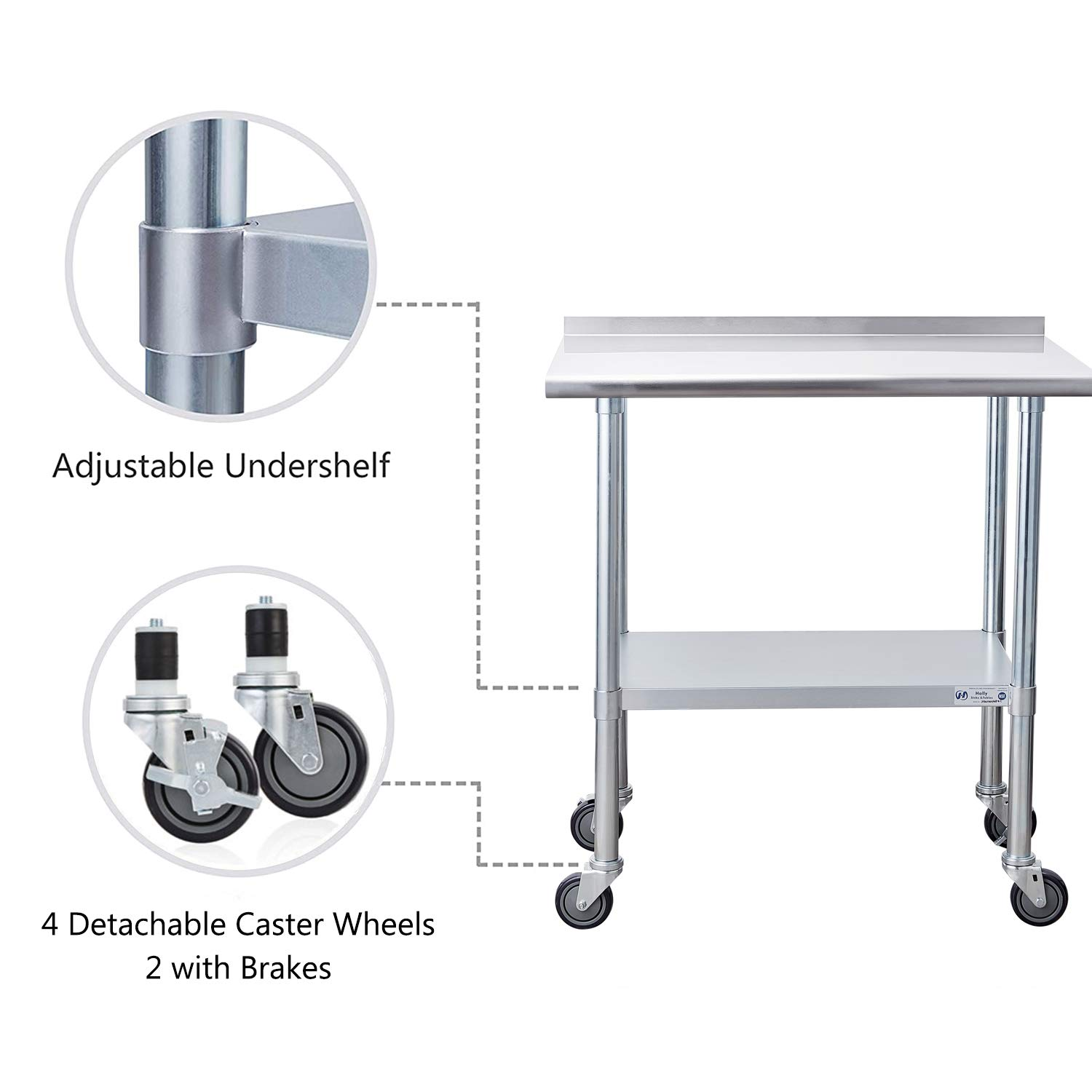 NSF Commercial Heavy Duty Table with Undershelf and Backsplash for Restaurant Home and Hotel Stainless Steel Table for Prep /& Work 24 x 30 Inches with Caster Wheels