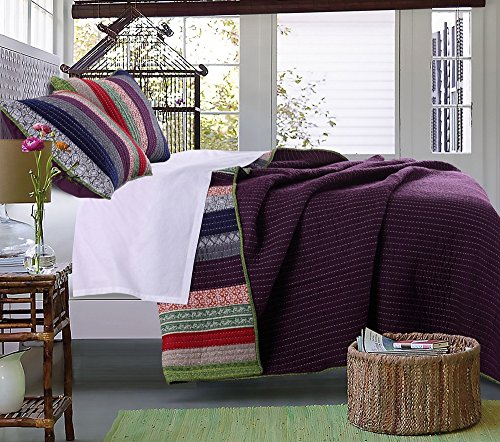 - 3 Piece French Country Woven Striped Theme Quilt Full Queen Set, Beautiful Multi Colored Stripe Bedding, Vintage Vertical Paisley Scroll Stripes Reversible Solid Purple, Dark Navy Blue Pink Red Green
