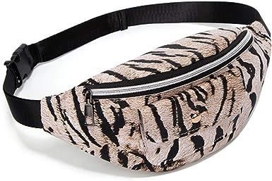 H2okp-009 Moda Mujer Tiger Stripes Riñonera Riñonera Forma De Concha Faux Leather Fanny Pack Simple Casual Café ligero: Amazon.es: Ropa y accesorios