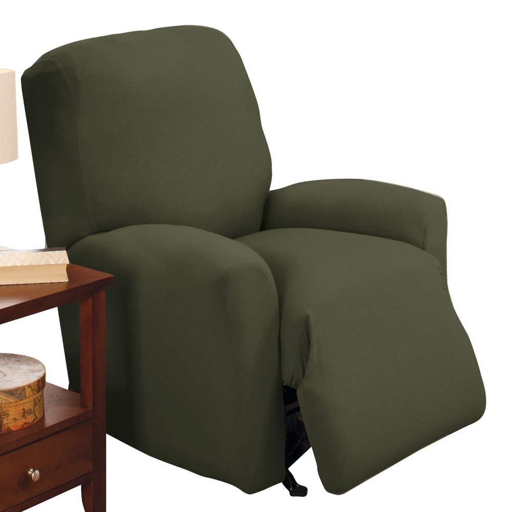 Collections Etc Jersey Stretch Slipcover Furniture Protector, Forest Green, Recliner