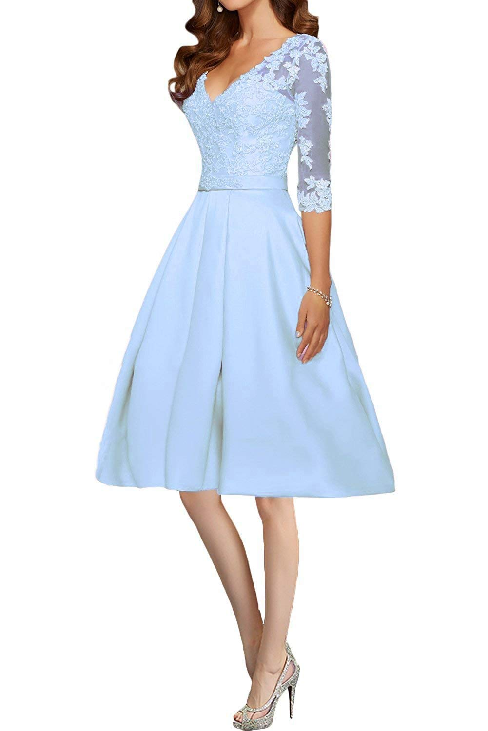 7be5b07581c Scarisee Women s 3 4 Long Sleeves V-Neck Prom Homecoming Dresses Lace  Appliqued Beaded Cocktail Evening Party Gowns Sky Blue 10