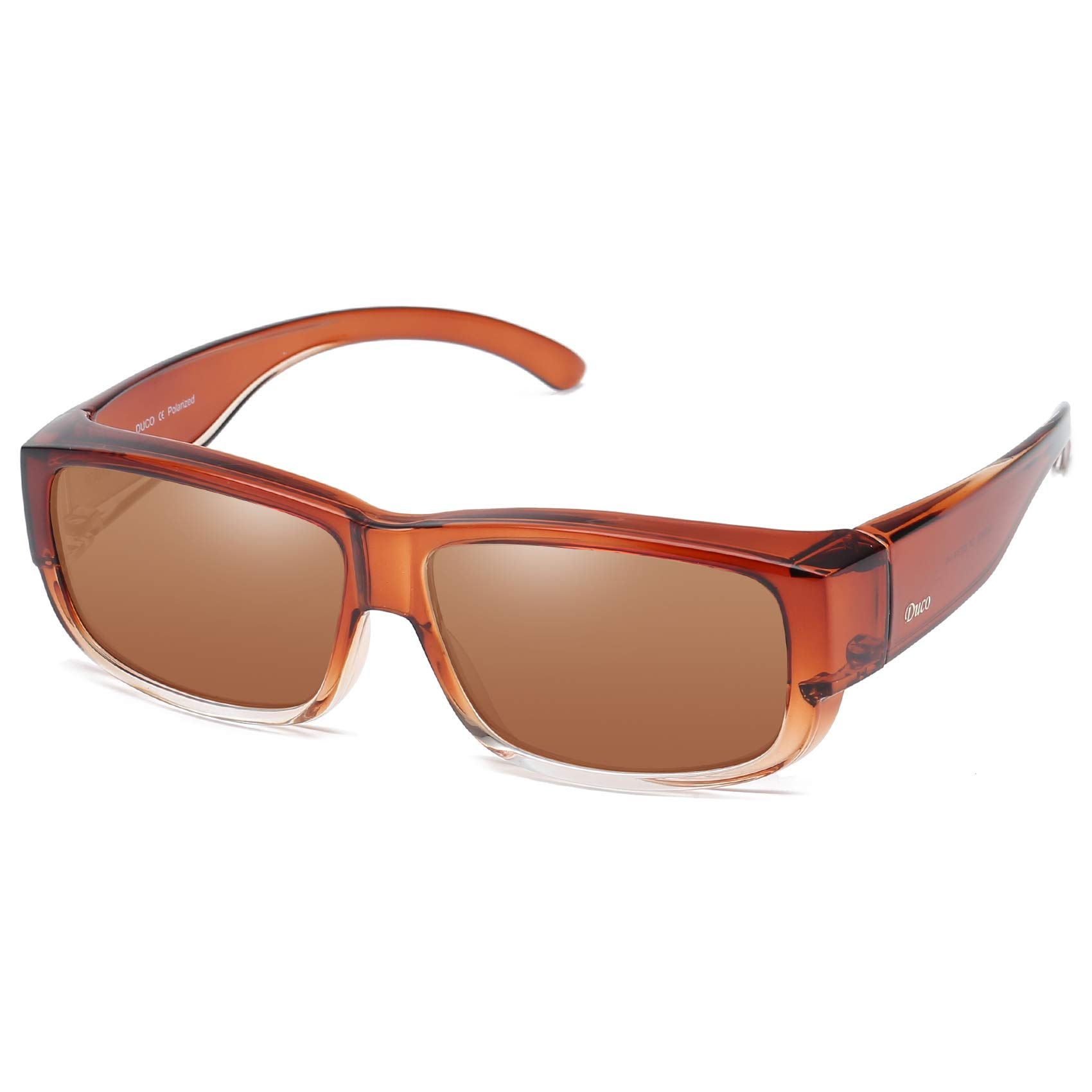 Duco Unisex Wear Over Prescription Glasses Rx Glasses Polarized Sunglasses 8956 Brown Frame Brown Lens by DUCO