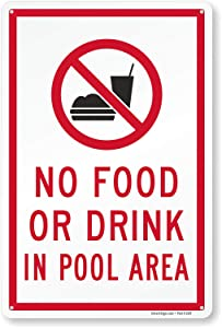 SmartSign No Food Or Drink in Pool Area Sign (with Graphic), 15 x 10 Inches, 55 Mil Thick Plastic, 100-percent Recyclable, USA Made