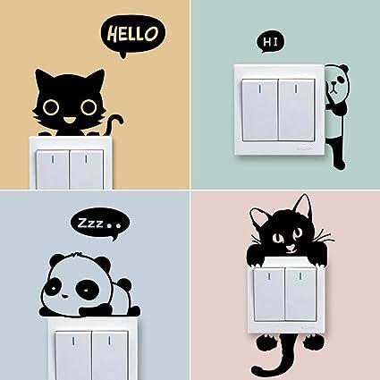 ufengke home Black & White Cat & Panda Cartoon Wall Art Stickers 1 Set with 2