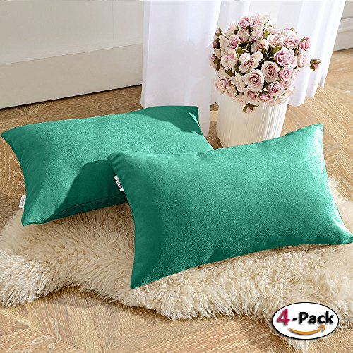 PONY DANCE Throw Pillow Cover Set of 4 Solid Velvet Rectangle Cushion Covers Sham for Chair/Sofa/Bed Including Hidden Zipper Design, Peacock Blue, 12