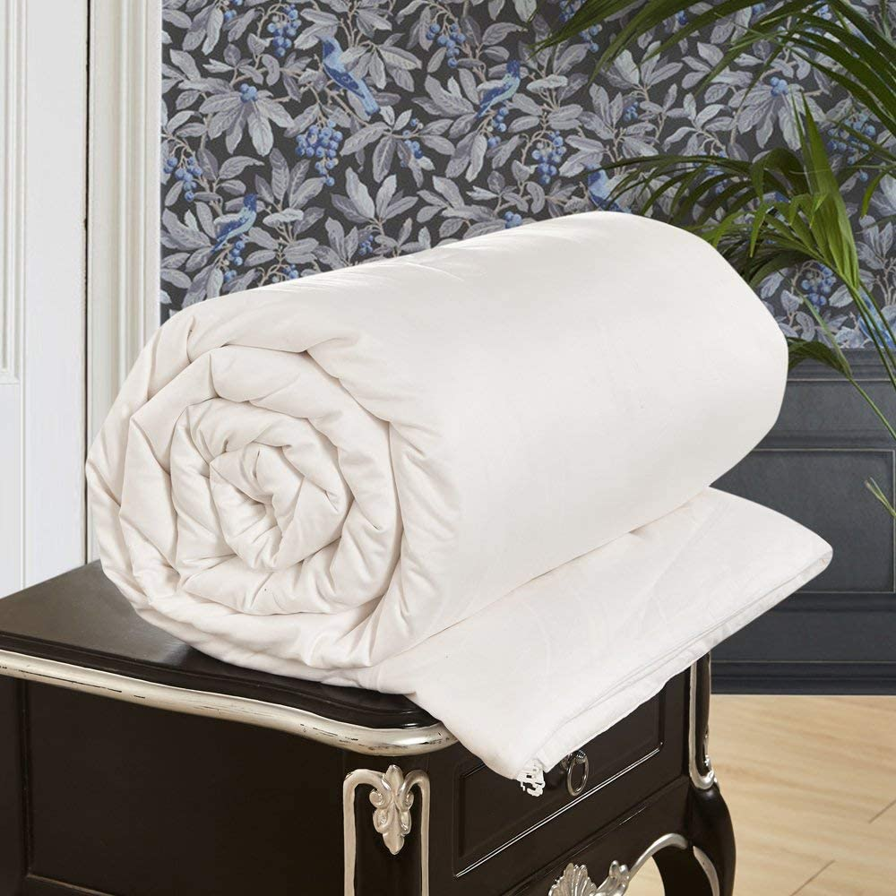 LilySilk All Season White Silk Comforter with Cotton Covered-Silk Weight:2.0kg 100% Silk Duvet Quilt King 104x92 Inches Breathable