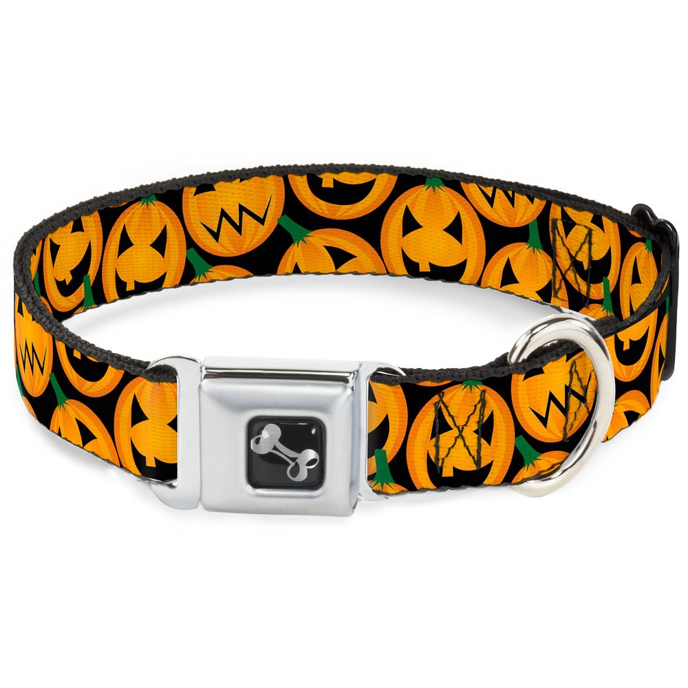 Buckle-Down Jacko'Lantern  Collage Black Dog Collar Bone, Wide Medium 16-23
