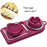 Egg Slicer, 2-in-1 Stainless Steel Cutting Wire Boiled Egg Slicer Sectioner -Great for Eggs and Small Fruits(purple)
