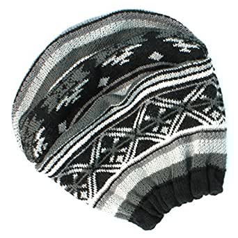 Mudd Junior Girls Slouch FairIsle Beanie - black white at