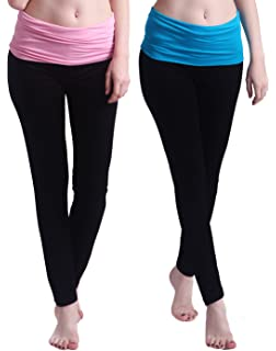 d1ab7ce54c0cd HDE Women's Maternity Yoga Pants Fit & Flare Foldover Pregnancy Leggings  2-Pack (Black