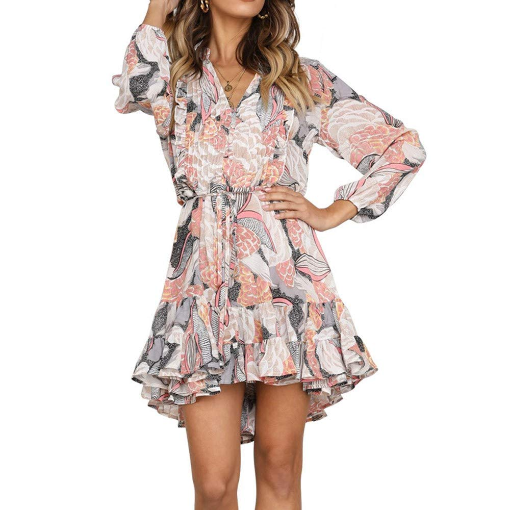 Vovotrade Women Vintage Flower Print Dress V Neck Long Sleeve Swing Dress Ladies Ruffles Mini Dress Casual Evening Party Boho Dress
