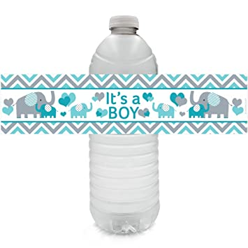 Teal Blue And Gray Elephant It S A Boy Baby Shower Water Bottle Labels 24 Count