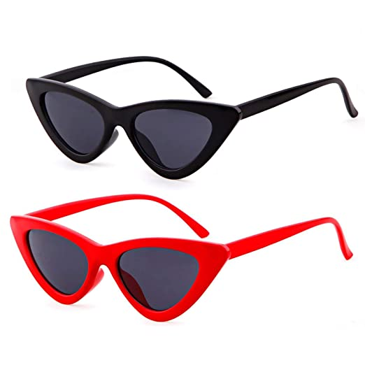 c11b9e6fe4c8c Retro Fashion Women Triangle Cat Eye Sunglasses Small Frame Sunglasses ( Black and Red)