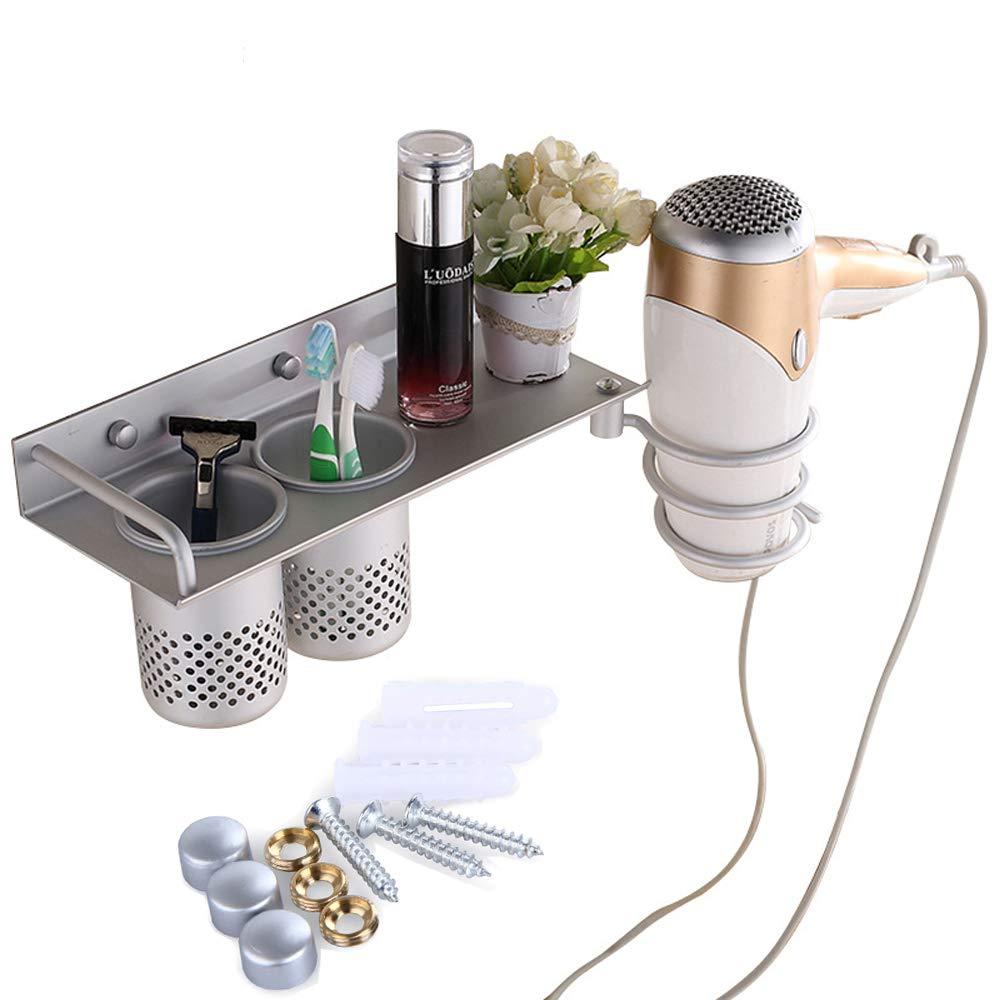 AIYoo Hair Dryer Holder,Wall Mount Hair Dryer Hanging Rack Organizer with 2 Cups ,Aluminum Spiral Blow Dryer Holder Bathroom Storage Rack Hair Drier Storage Shelf Lemeijia LJ-117